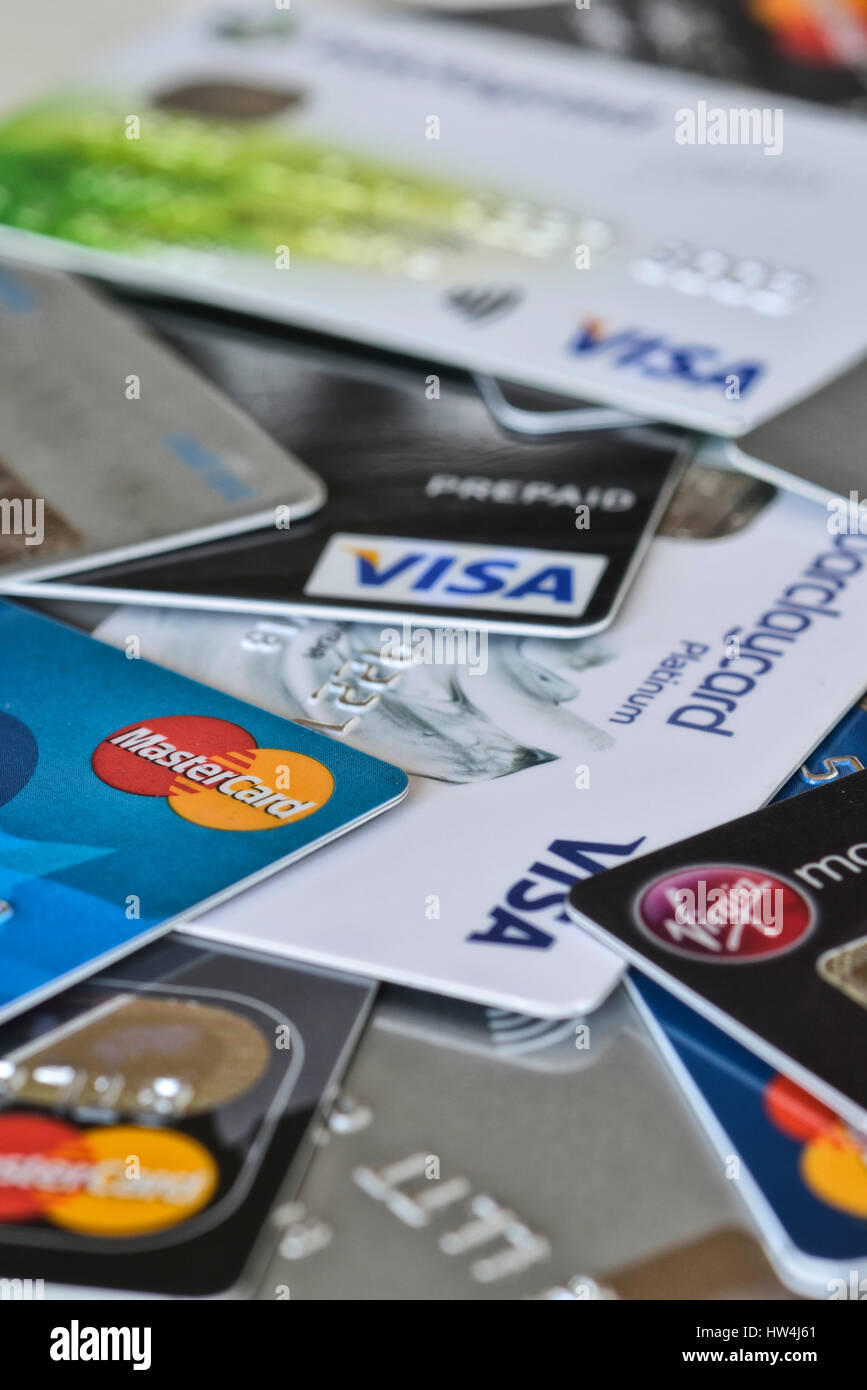 A selection of credit and charge cards. Britain, UK - Stock Image