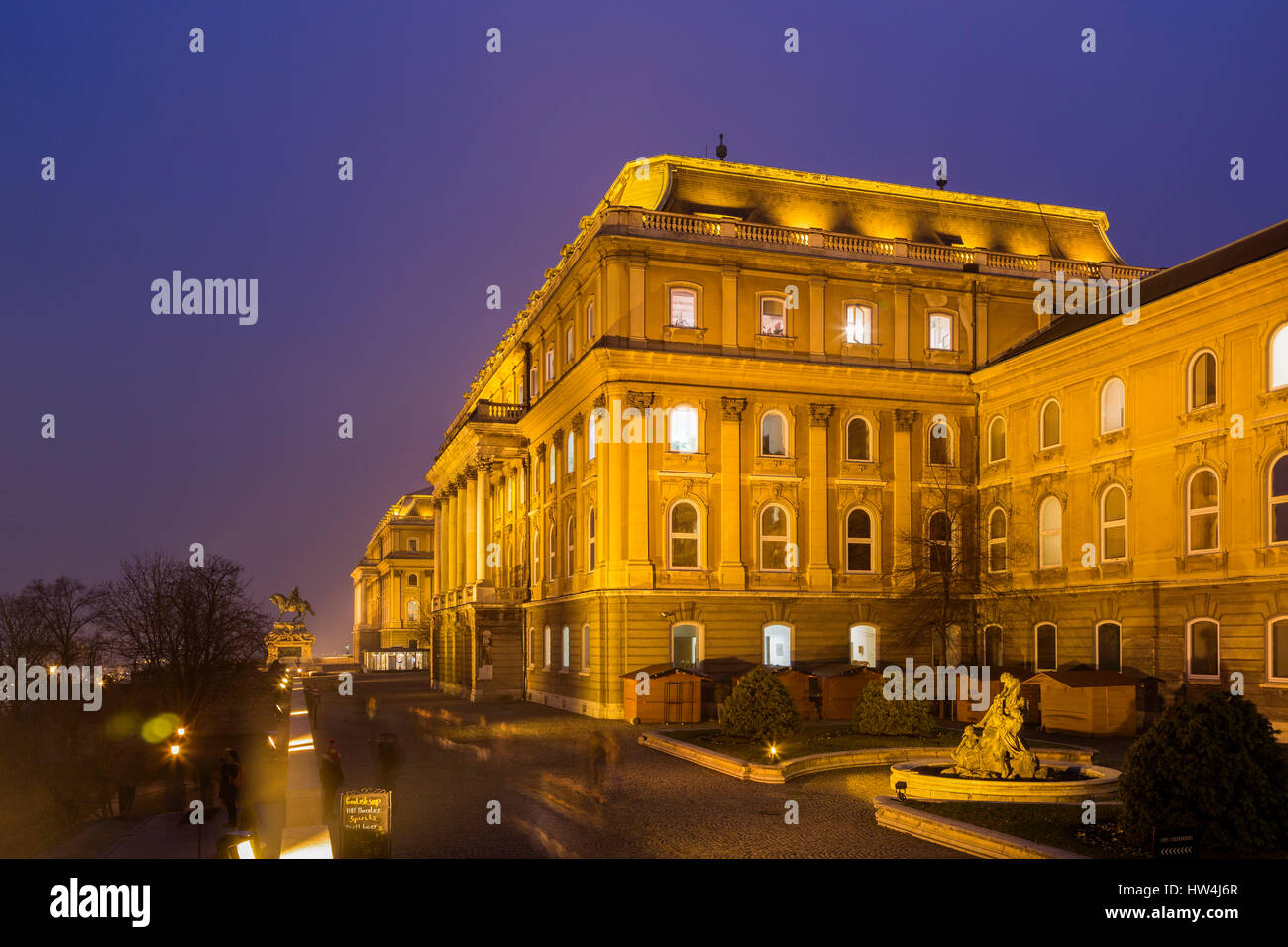 Royal Palace on Castle Hill at evening. Budapest Hungary, Southeast Europe - Stock Image