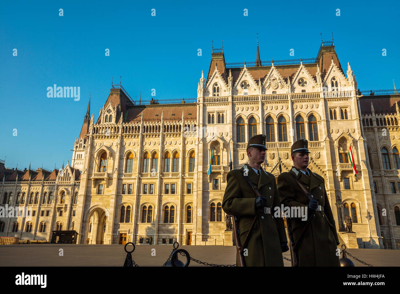 Honour Guards outside the Hungarian Parliament Building, Neogothic Style, National Assembly. Budapest Hungary, Southeast - Stock Image