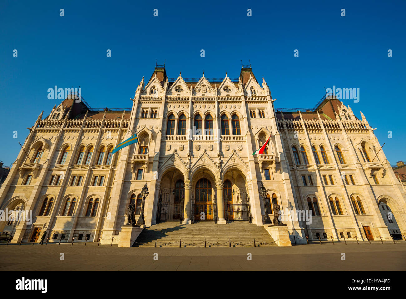 Hungarian Parliament Building, Neogothic Style, National Assembly. Budapest Hungary, Southeast Europe - Stock Image