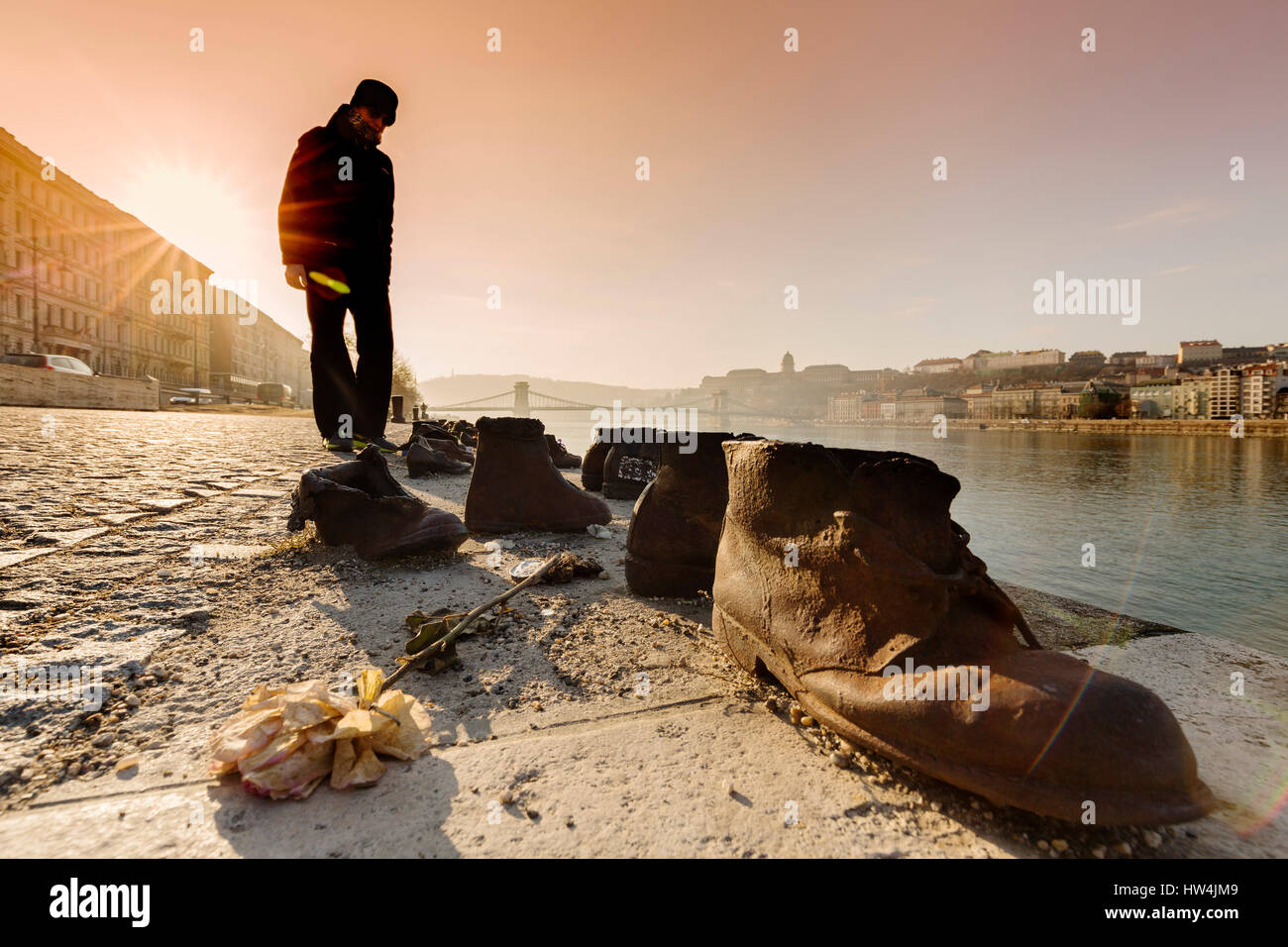 Monument The Shoes on the Danube Bank Promenade. Created by Gyula Pauer and Can Togay. It honors the Jews who were - Stock Image