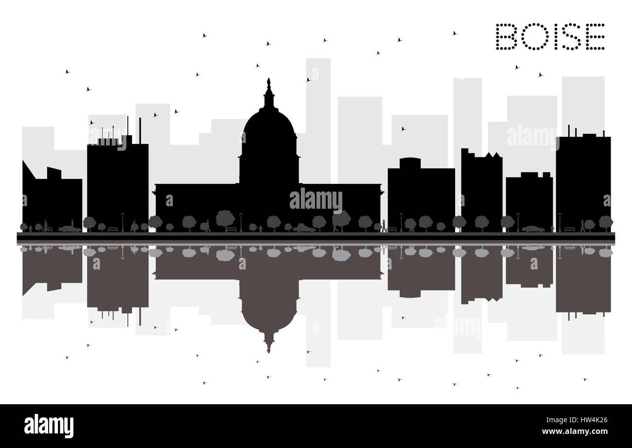 Boise City skyline black and white silhouette with reflections. Vector illustration. Simple flat concept for tourism - Stock Vector