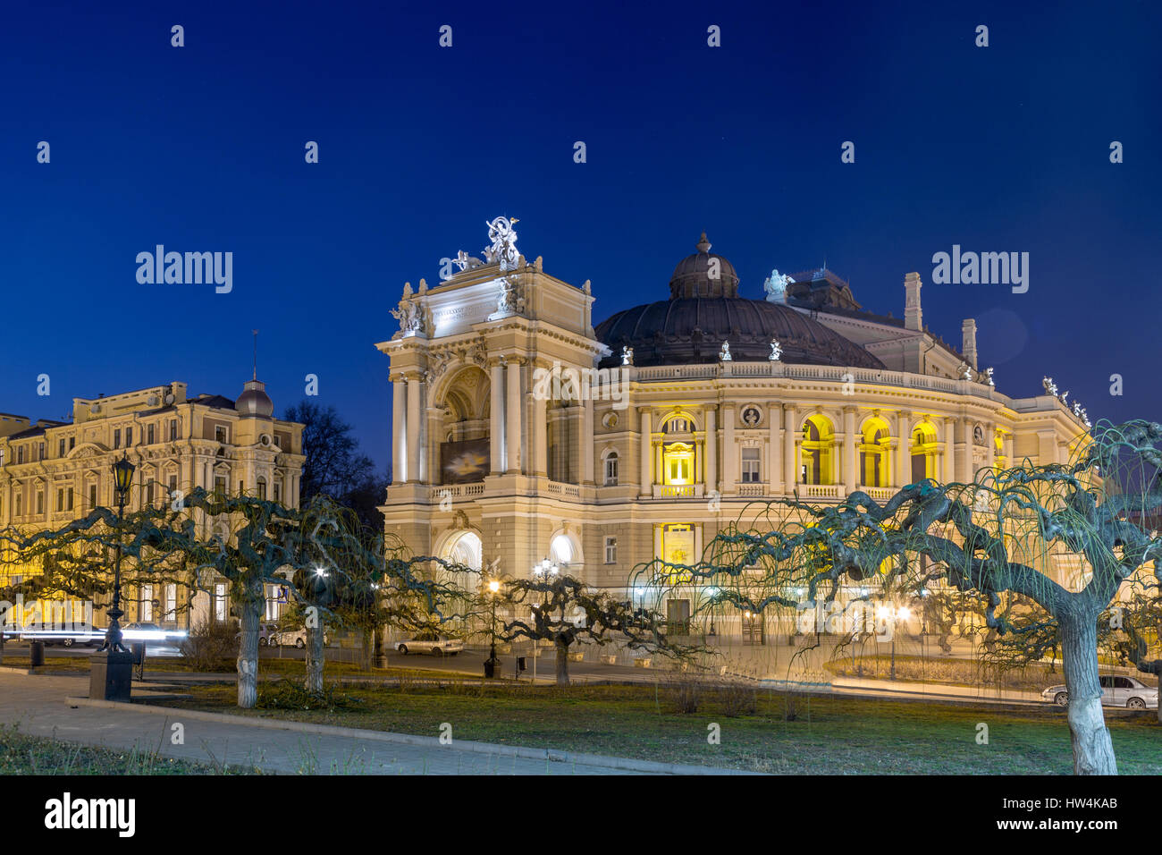 Odessa Opera and Ballet Theater in the heart of Odessa, Ukraine at night - Stock Image