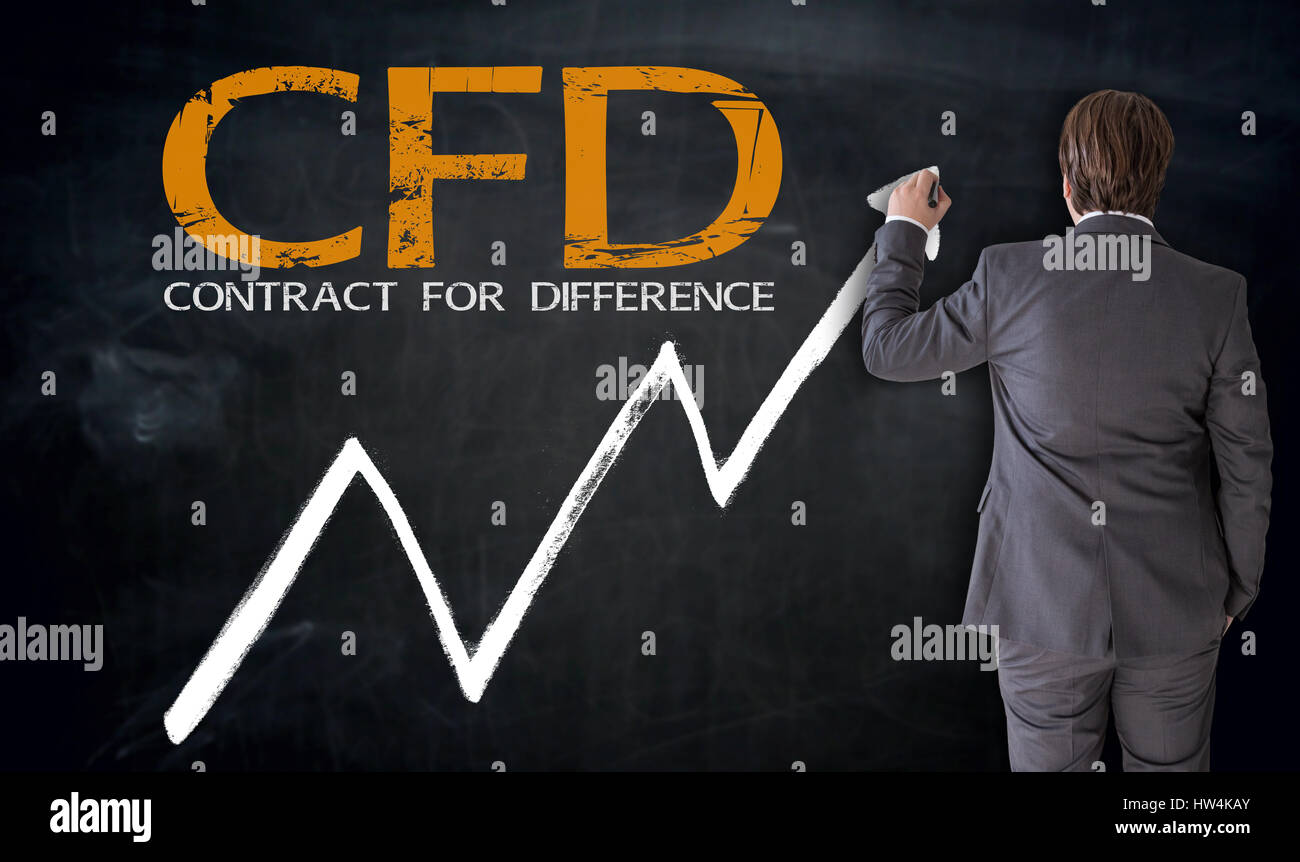 Businessman writing CFD on blackboard concept. Stock Photo
