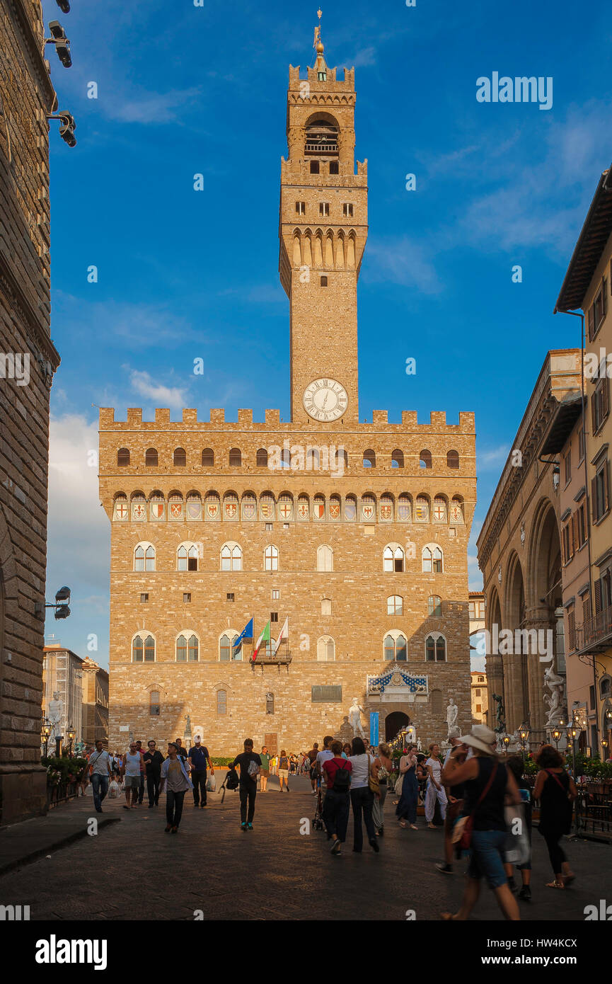 Palazzo Vecchio Florence, view of the landmark renaissance tower and City Hall (Palazzo Vecchio) in the Piazza della - Stock Image
