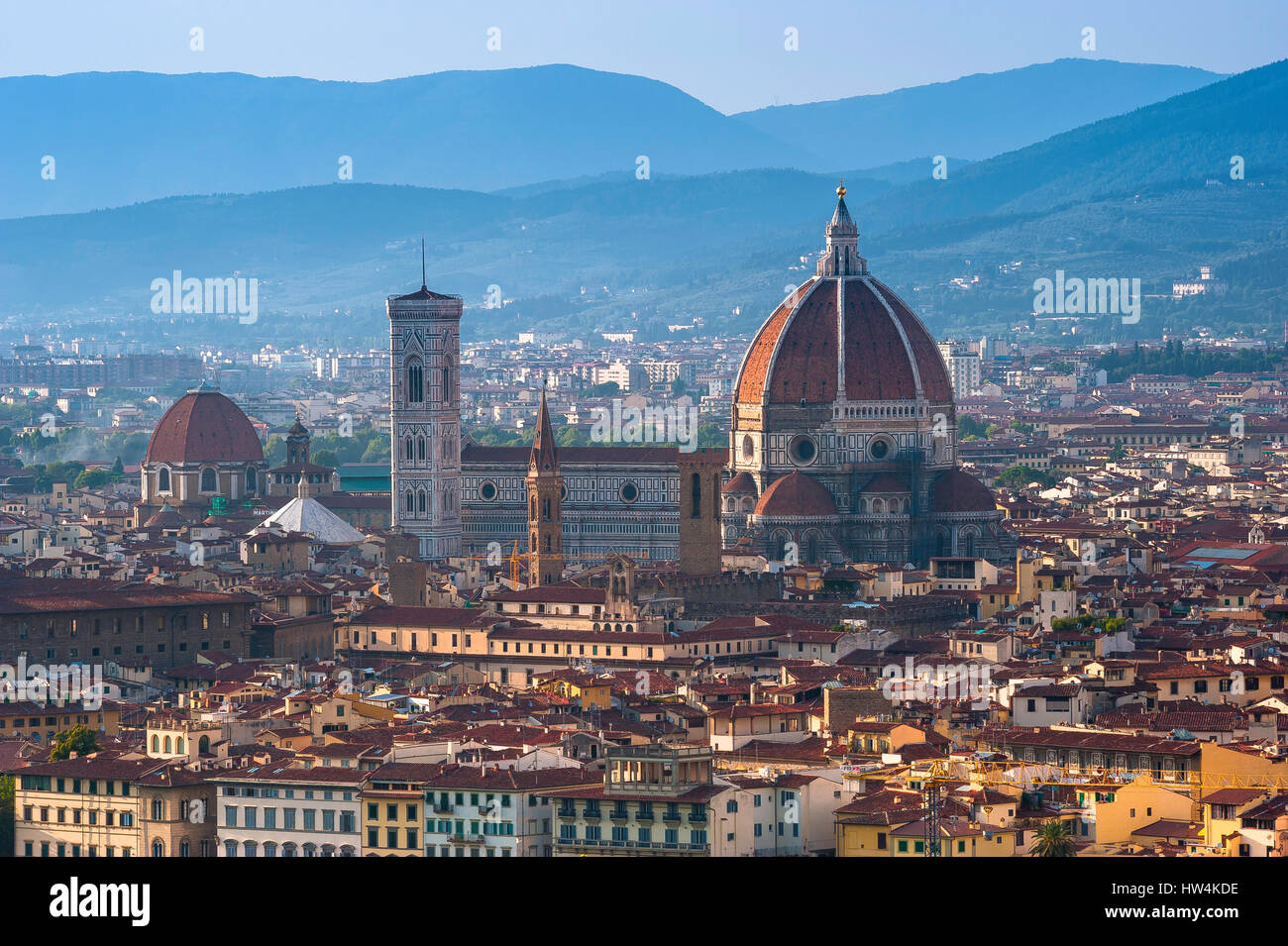 Florence cathedral, the Duomo (Santa Maria del Fiore) with its Brunelleschi designed dome in the centre of Florence,viewed - Stock Image