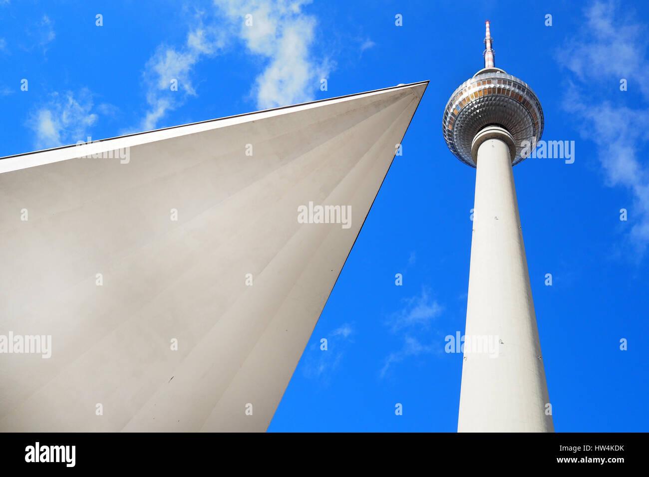 Berlin,Germany: the TV tower in Alexanderplatz - Stock Image