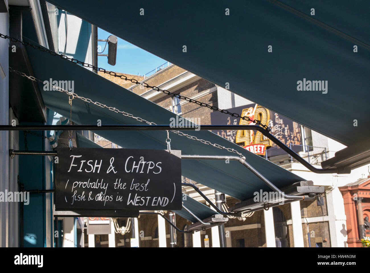 Traditional fish and chips sign. Youngs, Marquess of anglesey, Russell street, West End, London, UK - Stock Image