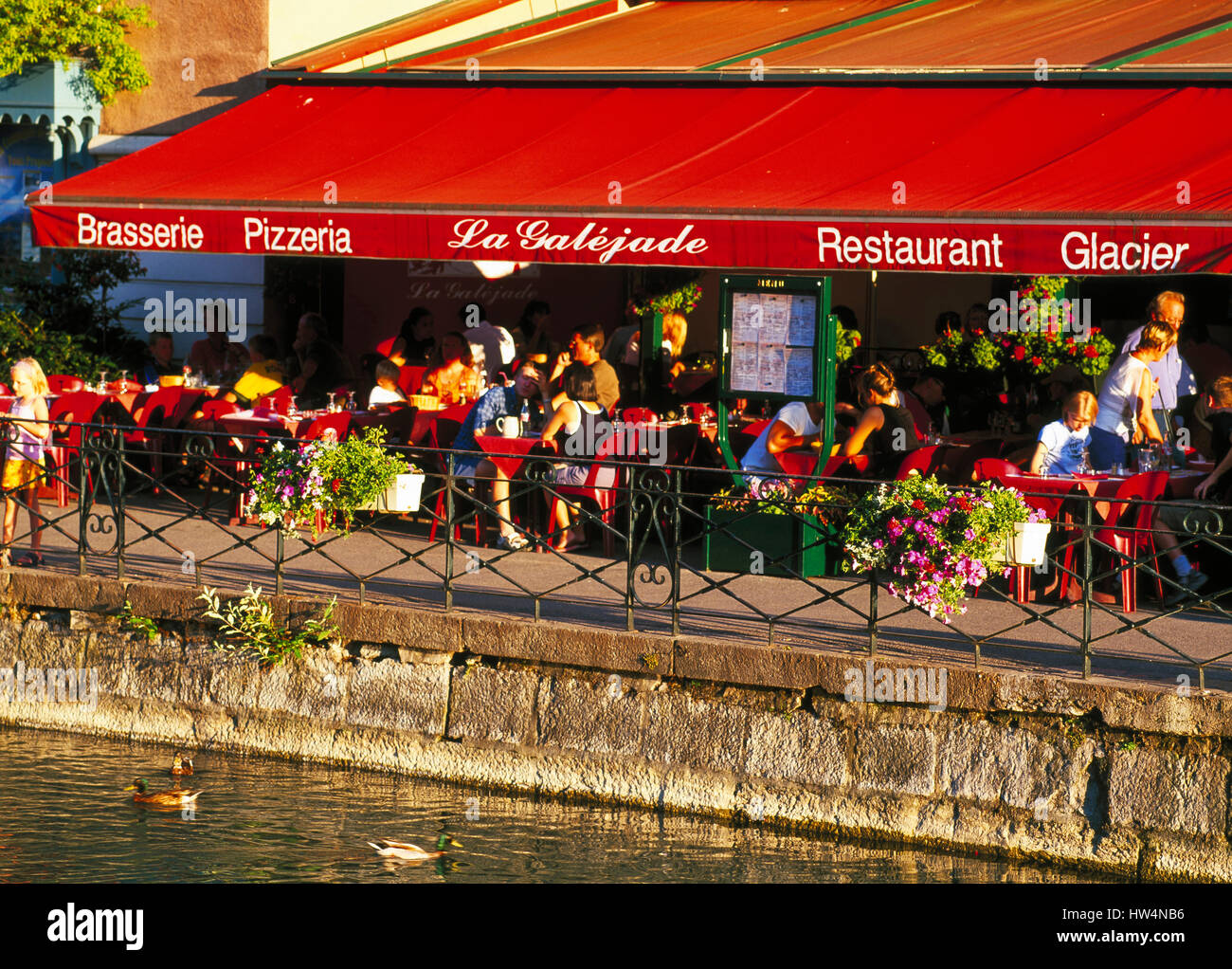 Pavement cafe, Annecy, Haute Savoie, Rhone Alps, France - Stock Image