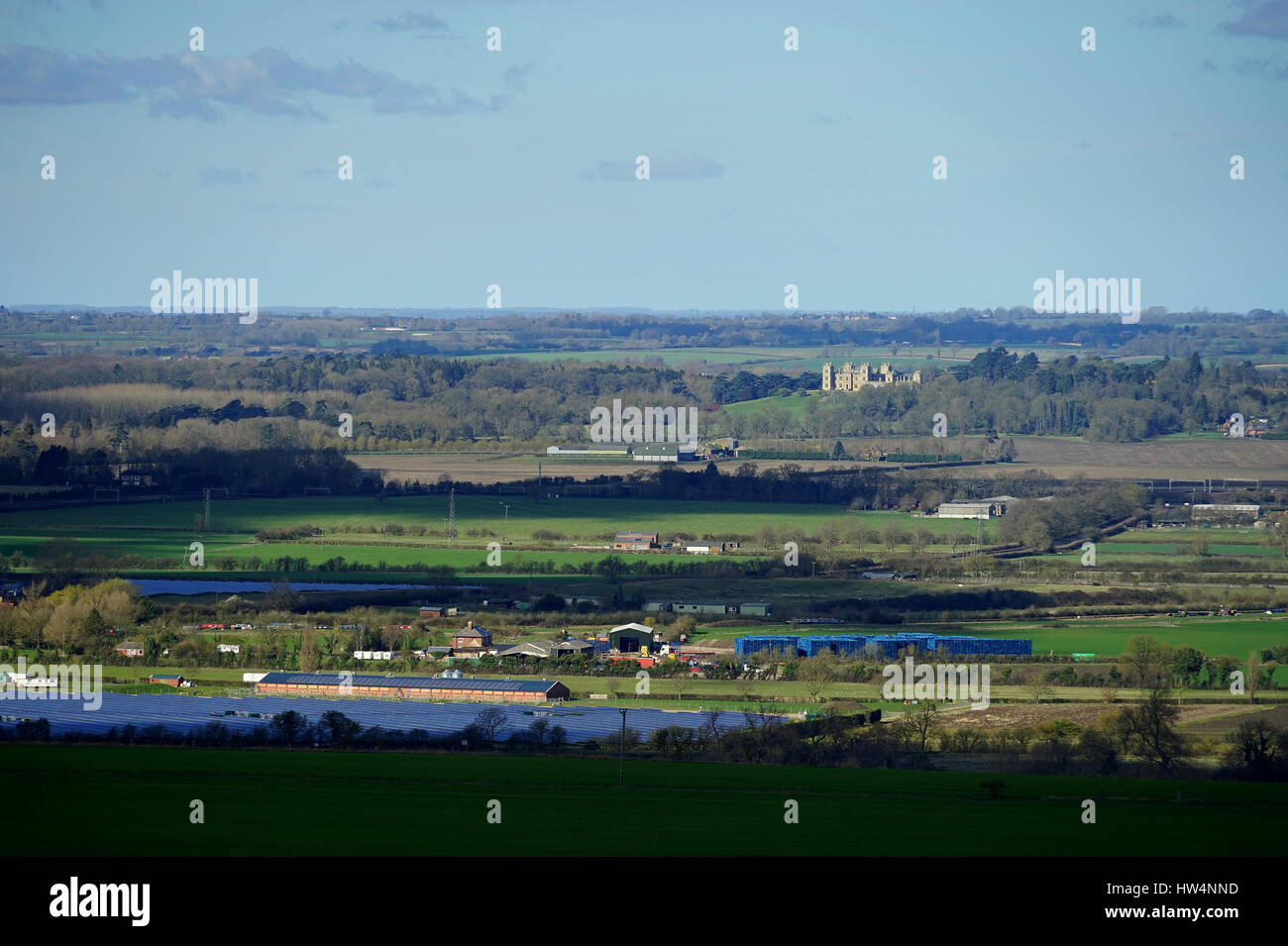 The view across to Mentmore Towers from Ivinghoe Hills - Stock Image