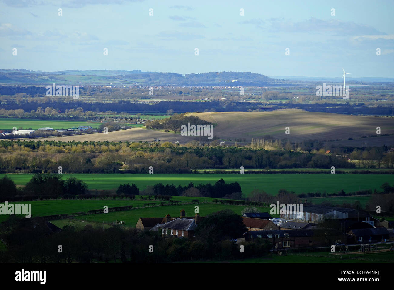 The view towards Waddesdon from Pitstone Hill - Stock Image