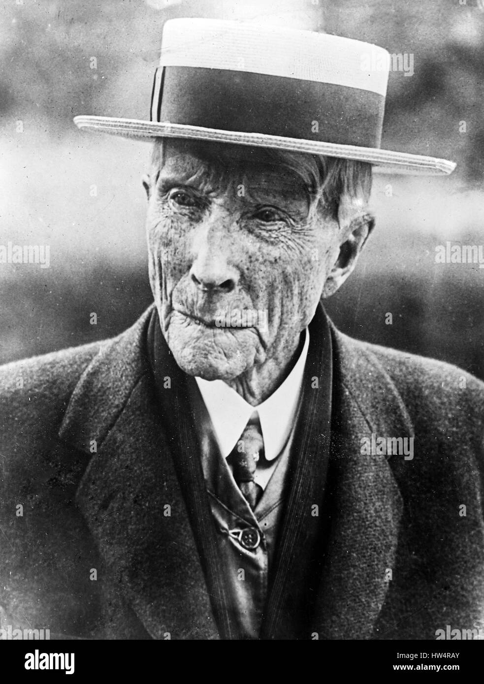 JOHN D. ROCKEFELLER (1839-1937) American oil billionaire in June 1911 - Stock Image