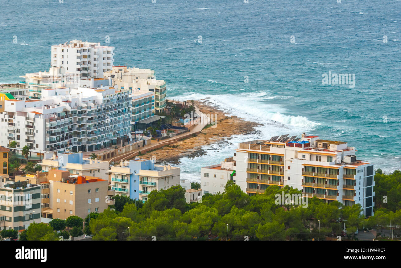 View from the hills in St Antoni de Portmany & surrounding area in Ibiza.  Hotels along the beach, places to - Stock Image