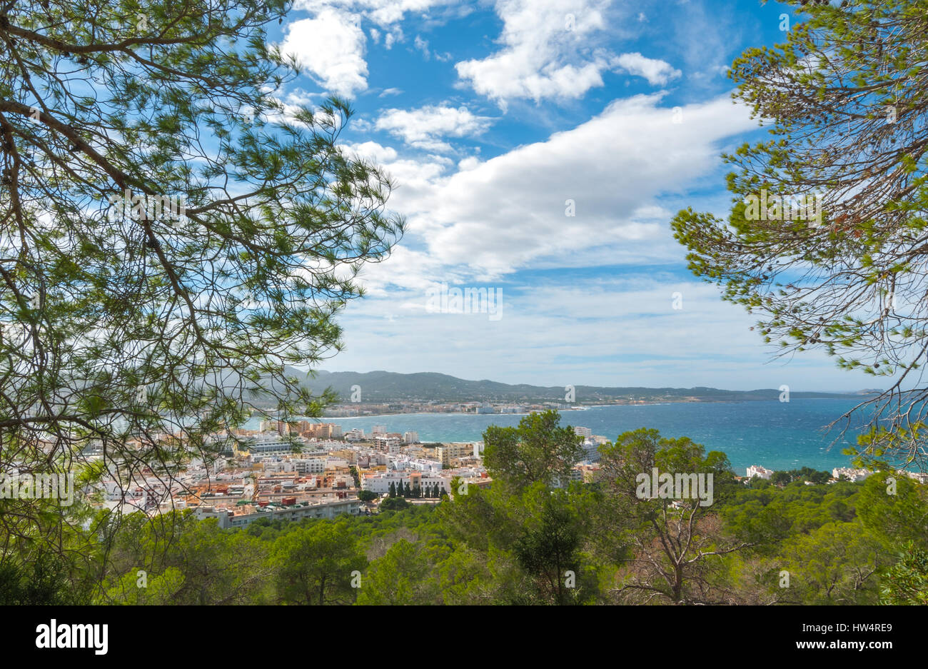 Hill side view of St Antoni de Portmany, Ibiza, on a clearing day in November, kindly warm breeze in autumn,  Balearic - Stock Image