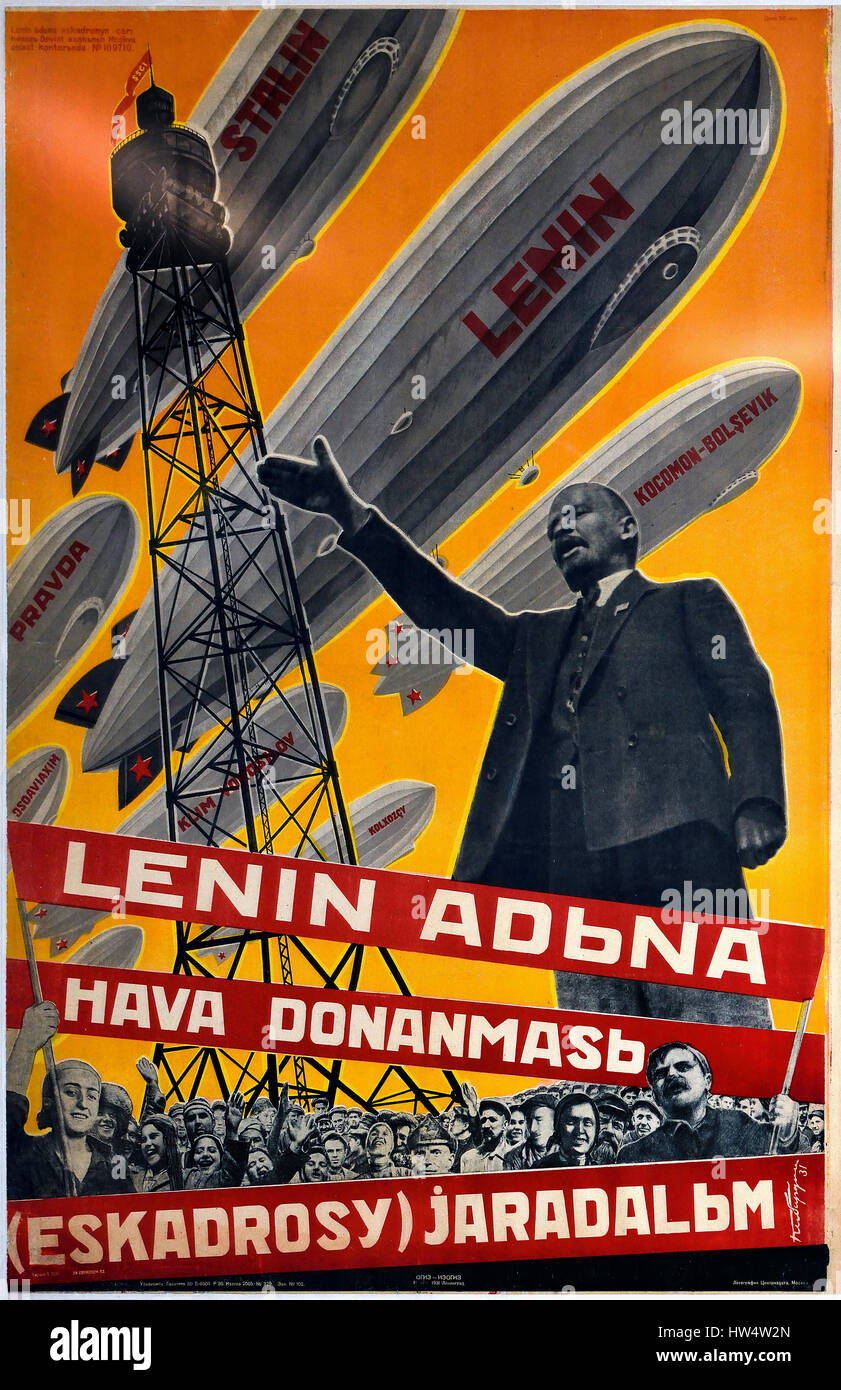 Let`s Build a Fleet of Airships in Lenin` s by Georgy Vladimirovich Kibardin  Name  Russian propaganda - publicity - Stock Image