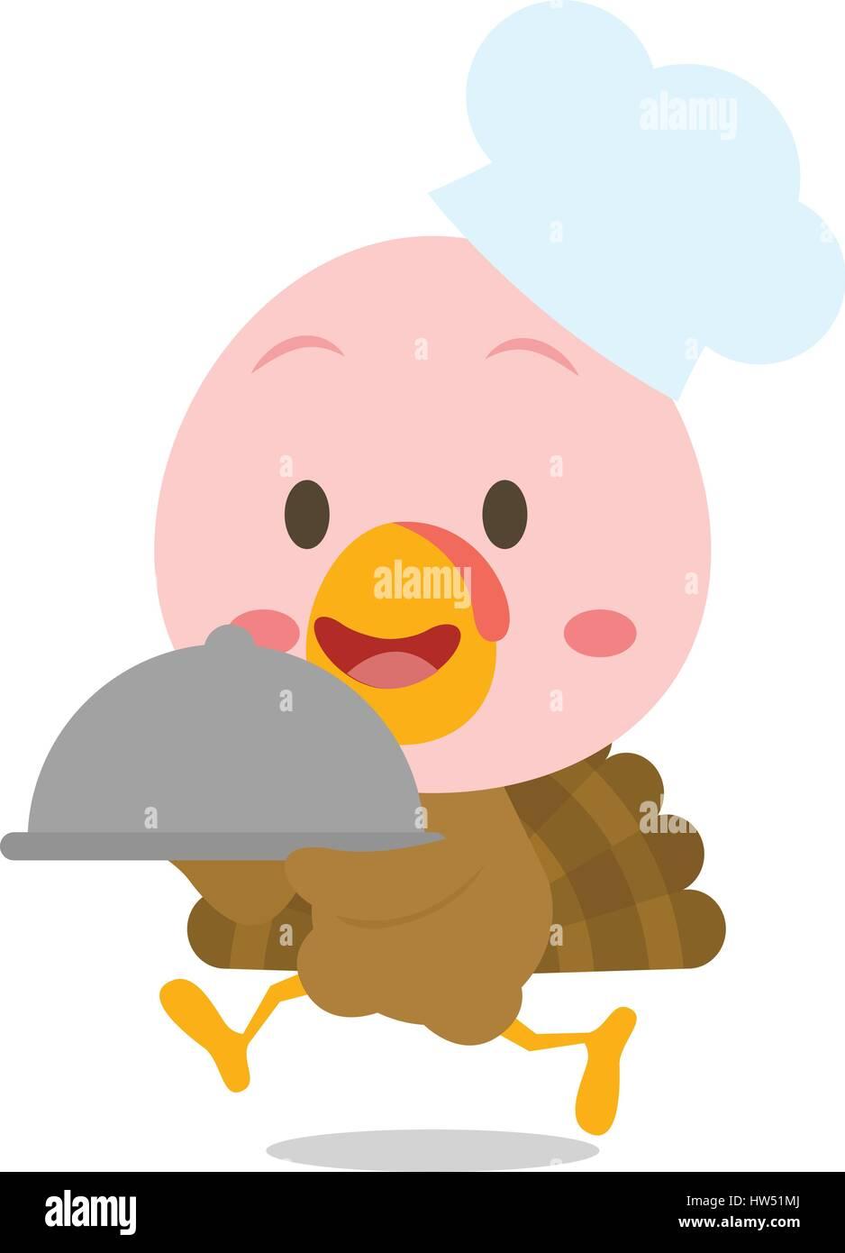 Chef turkey cartoon design character Stock Vector