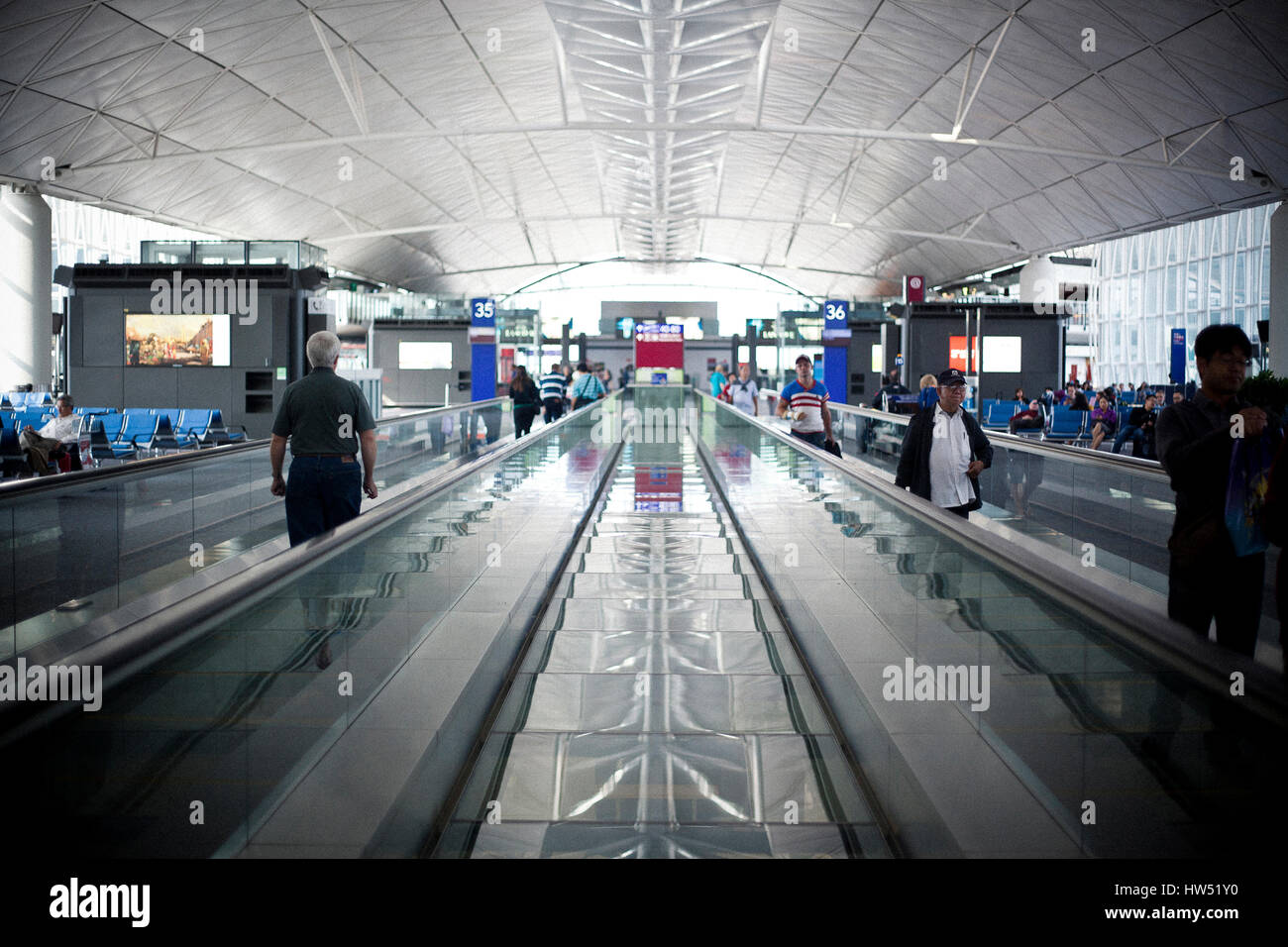 Hong Kong International Airport is one of the busiest airports in Asia. More than 100 airlines are operating from - Stock Image