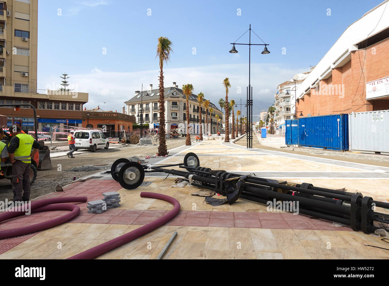 Street under construction, infrastructure, urban planning, Fuengirola, Spain. - Stock Image