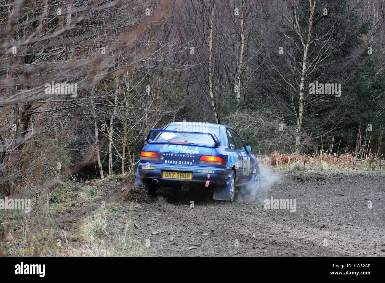 Rally cars on rally special stage - Stock Image