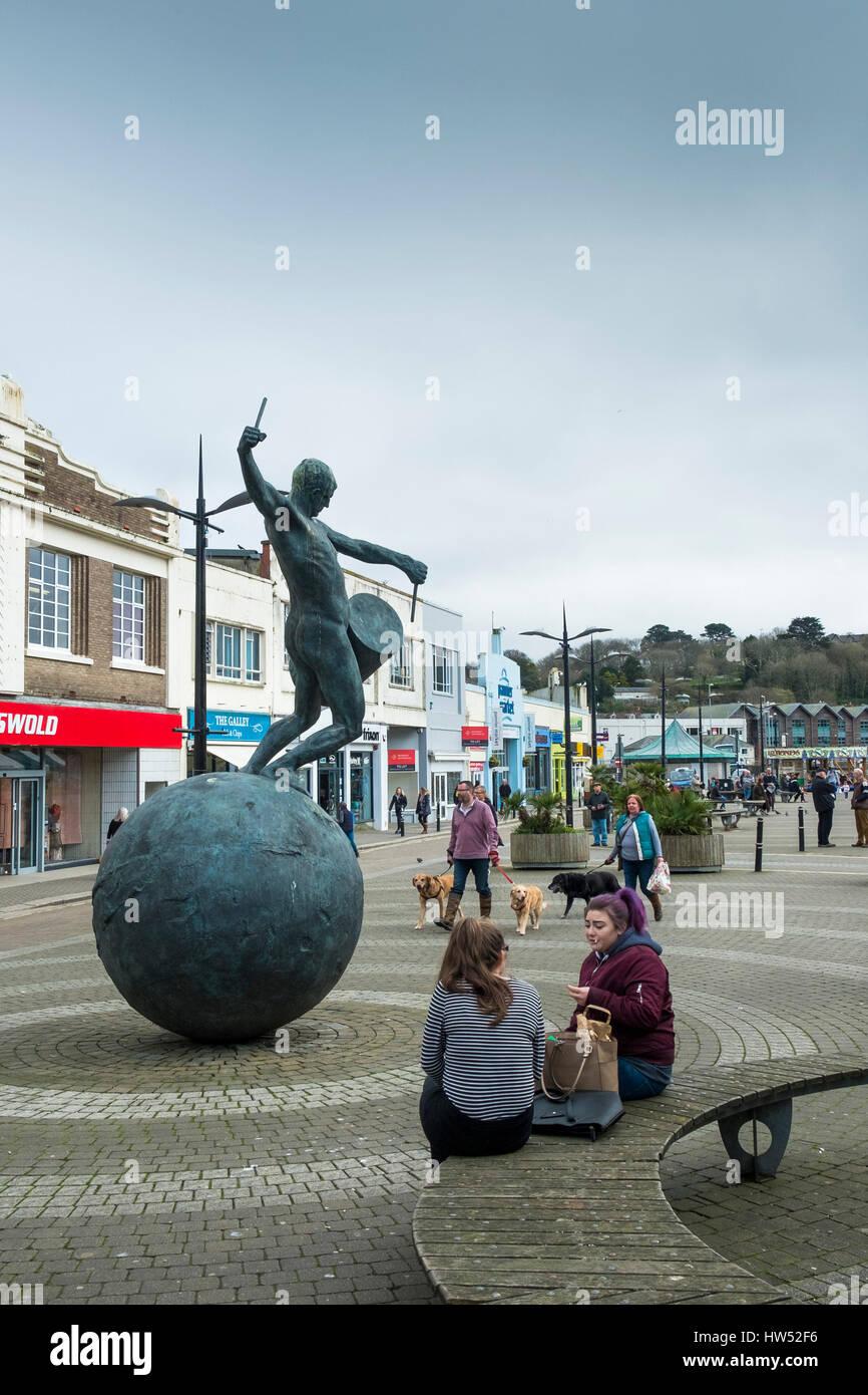 Drummer Statue Lemon Quay Truro City Centre Cornwall. - Stock Image
