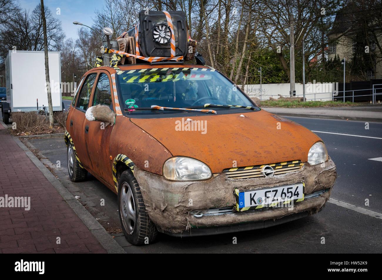 'Rat Style' Opel Corsa parked on roadside in Meerbusch-Büderich near Düsseldorf, NRW, Germany. - Stock Image