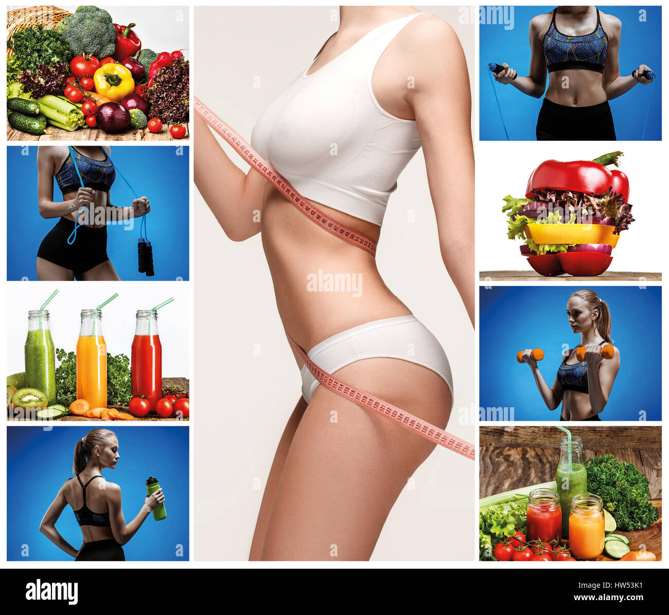 Young healthy woman with vegetables. Collage - Stock Image