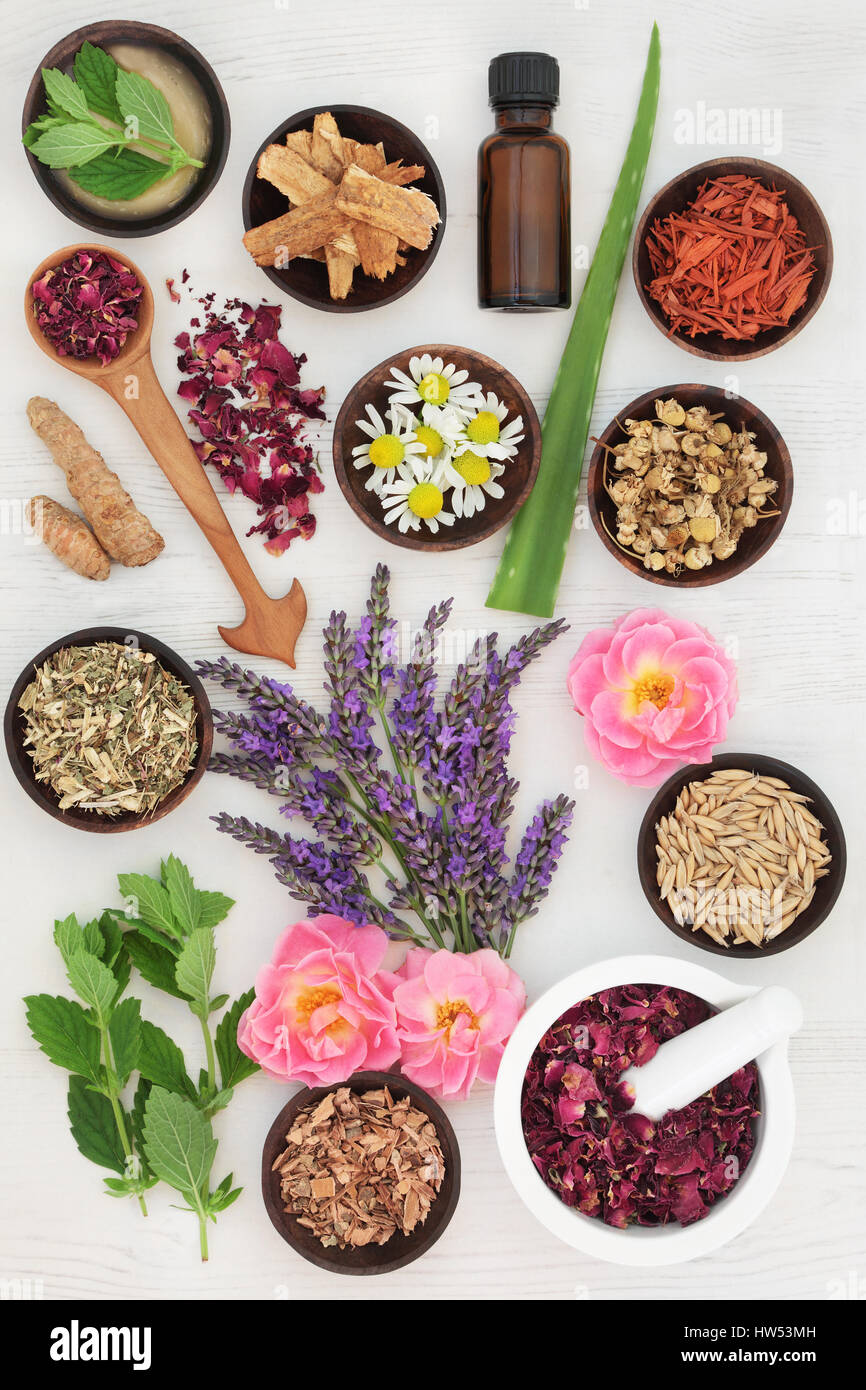 Herbs and ingredients to heal skin disorders including psoriasis and eczema on white distressed wood background. - Stock Image