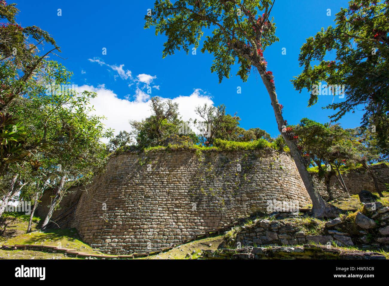 Gewaltige Ruine in der Festung von Kuelap des Volk der Chachapoya, Provinz Luya, Region Amazonas, Peru, Südamerika - Stock Image