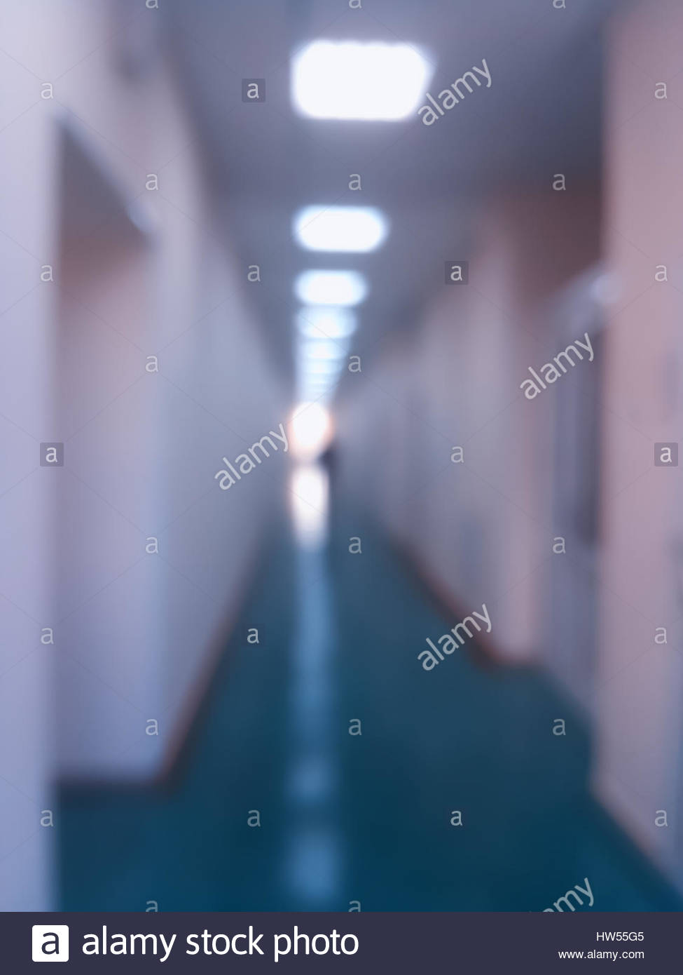 Vertical Office Corridor With Illumination Bokeh Background Hd Stock