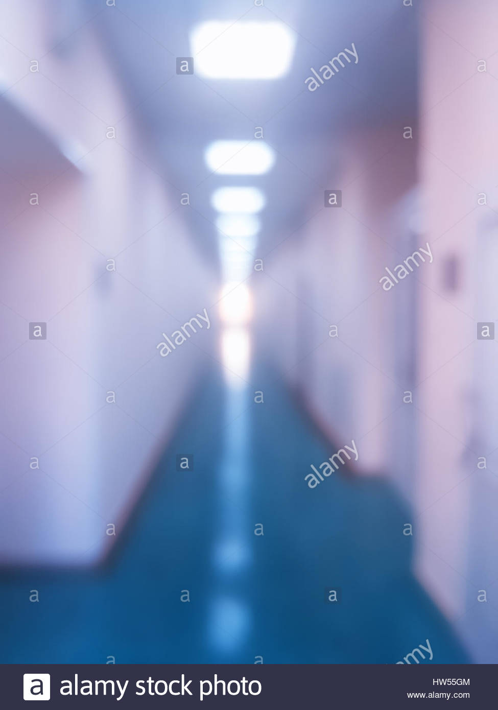 Vertical Office Corridor With Illumination Bokeh Background Hd Stock