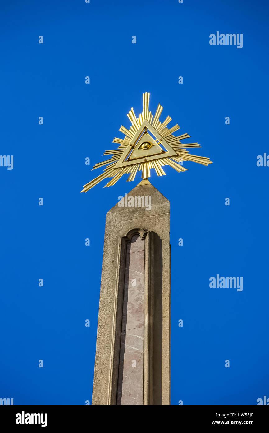 The Eye of providence, symbol of the Freemasons - Stock Image