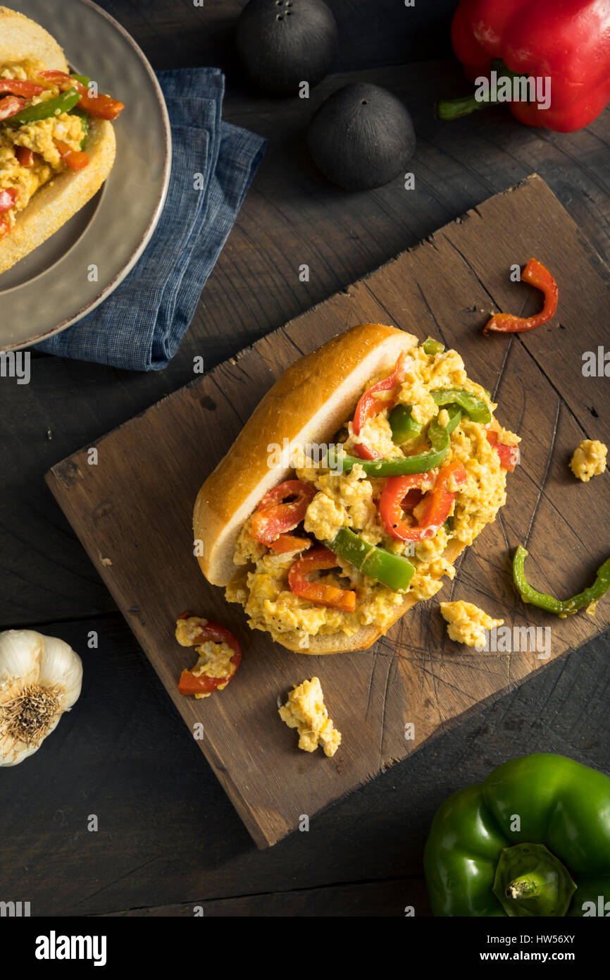 Homemade Pepper and Egg Sandwich on a Roll for Lent - Stock Image