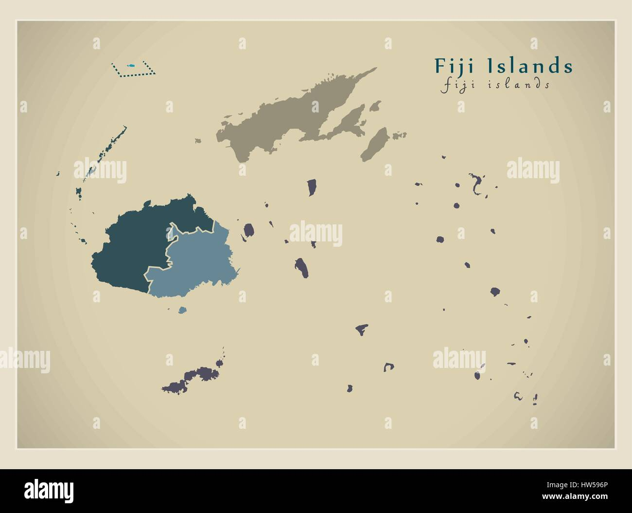 Modern Map Fiji Islands With Divisions Fj Stock Vector Art