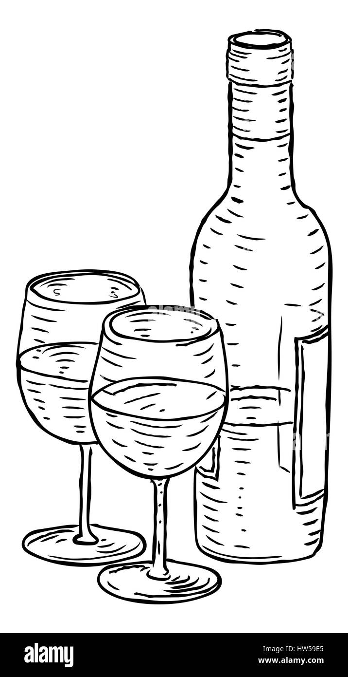 A Bottle Of Wine And Two Wineglasses Hand Draw In Retro Vintage Woodcut Engraved Or Etched Style