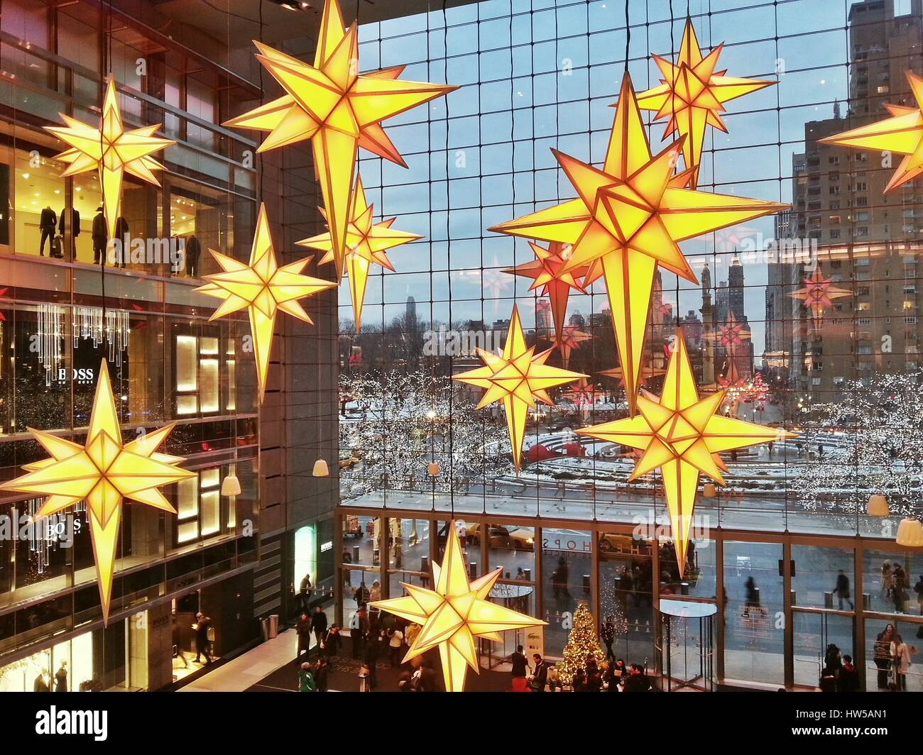 christmas decorations at time warner center manhattan new york america usa
