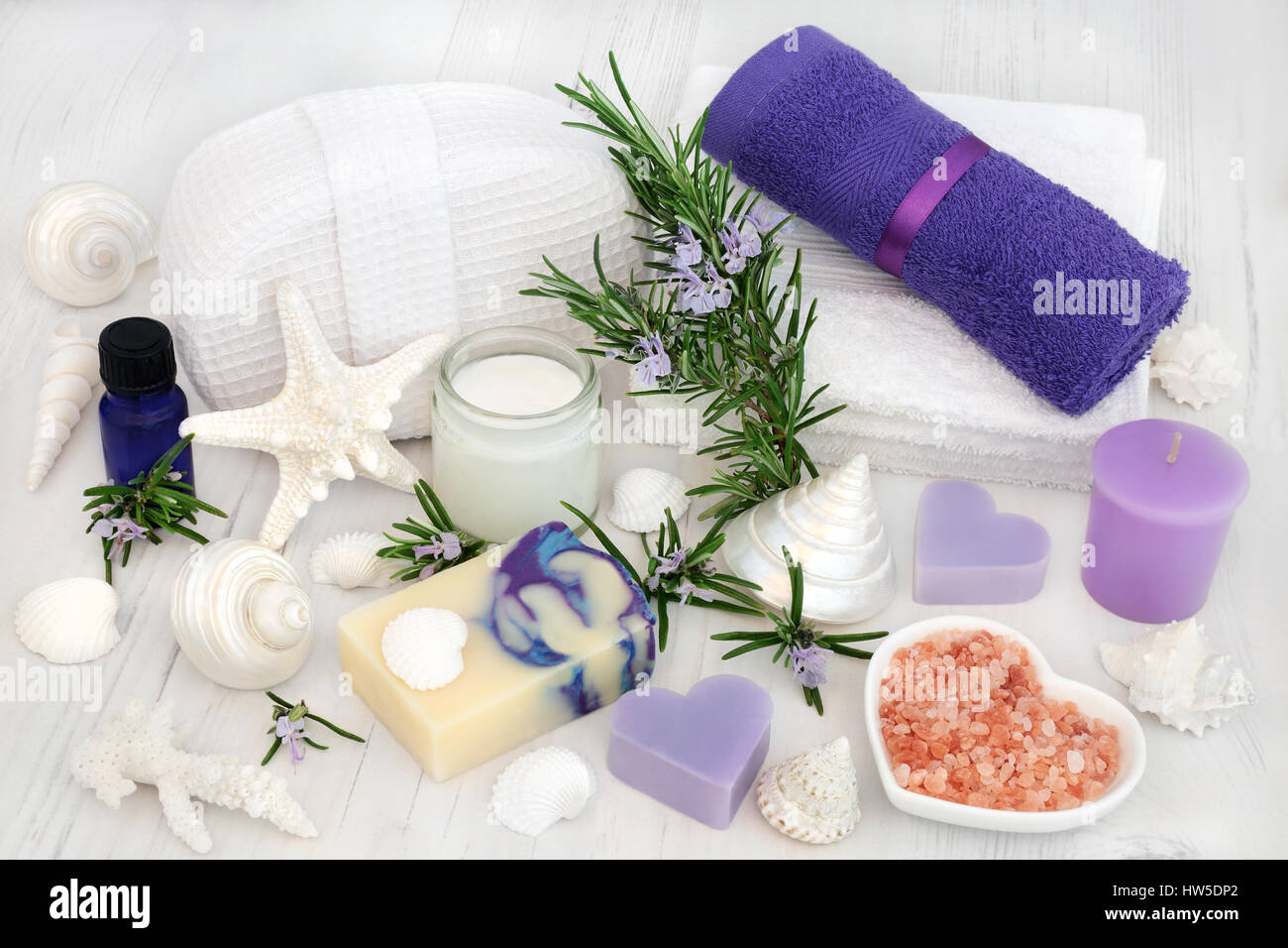 Rosemary herb flowers with aromatherapy, spa and bathroom ...