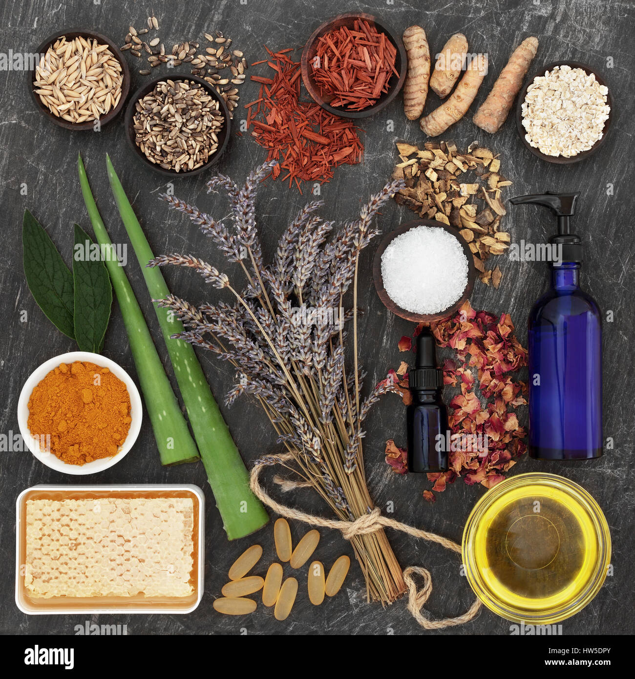 Herbs and ingredients to heal skin disorders including psoriasis and eczema. - Stock Image