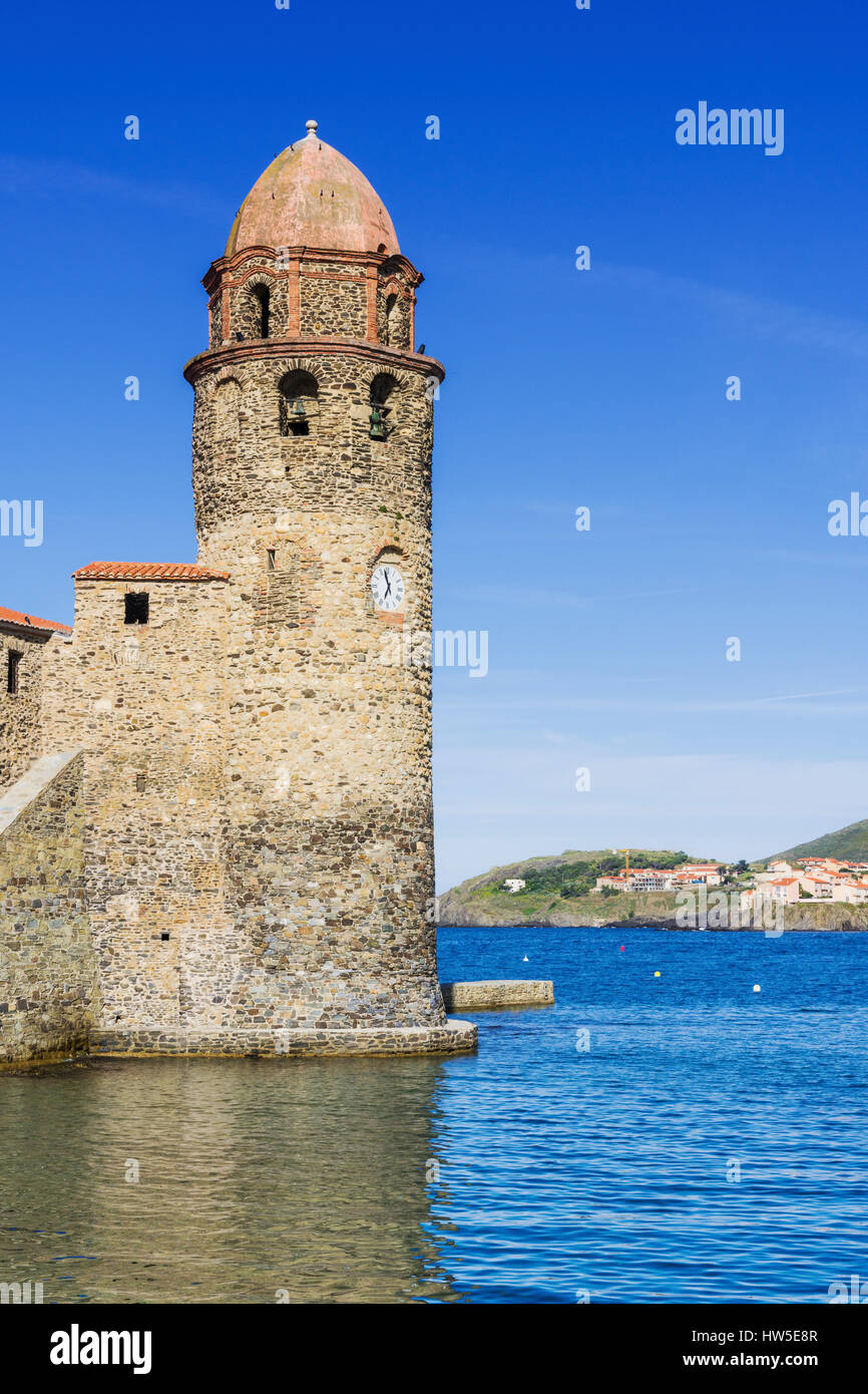 Collioure bell tower of the Church of Notre Dame des Anges, Collioure, Côte Vermeille, France Stock Photo