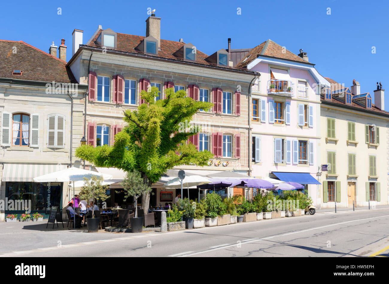Restaurant in the old town of Nyon, Switzerland - Stock Image