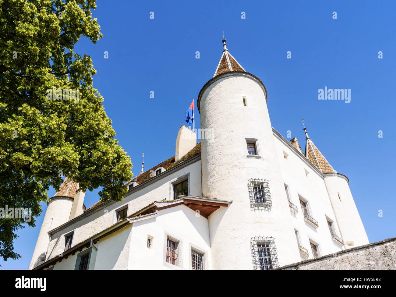 Looking up at the imposing Nyon Castle, Nyon, Switzerland - Stock Image