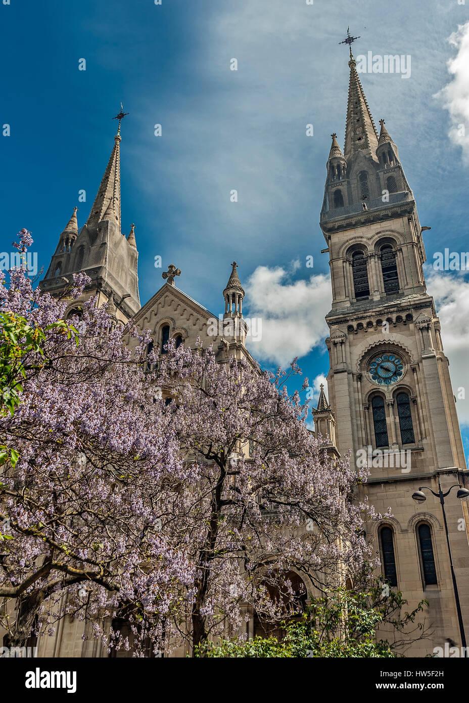 Church of Saint Ambroise on the Boulevard Voltaire , Paris, France . The architect chosen for the temple Ballou - Stock Image