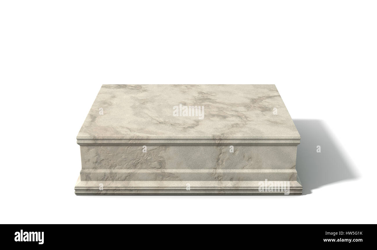 An Empty Rectangular Light Marble Stone Trophy Base On An