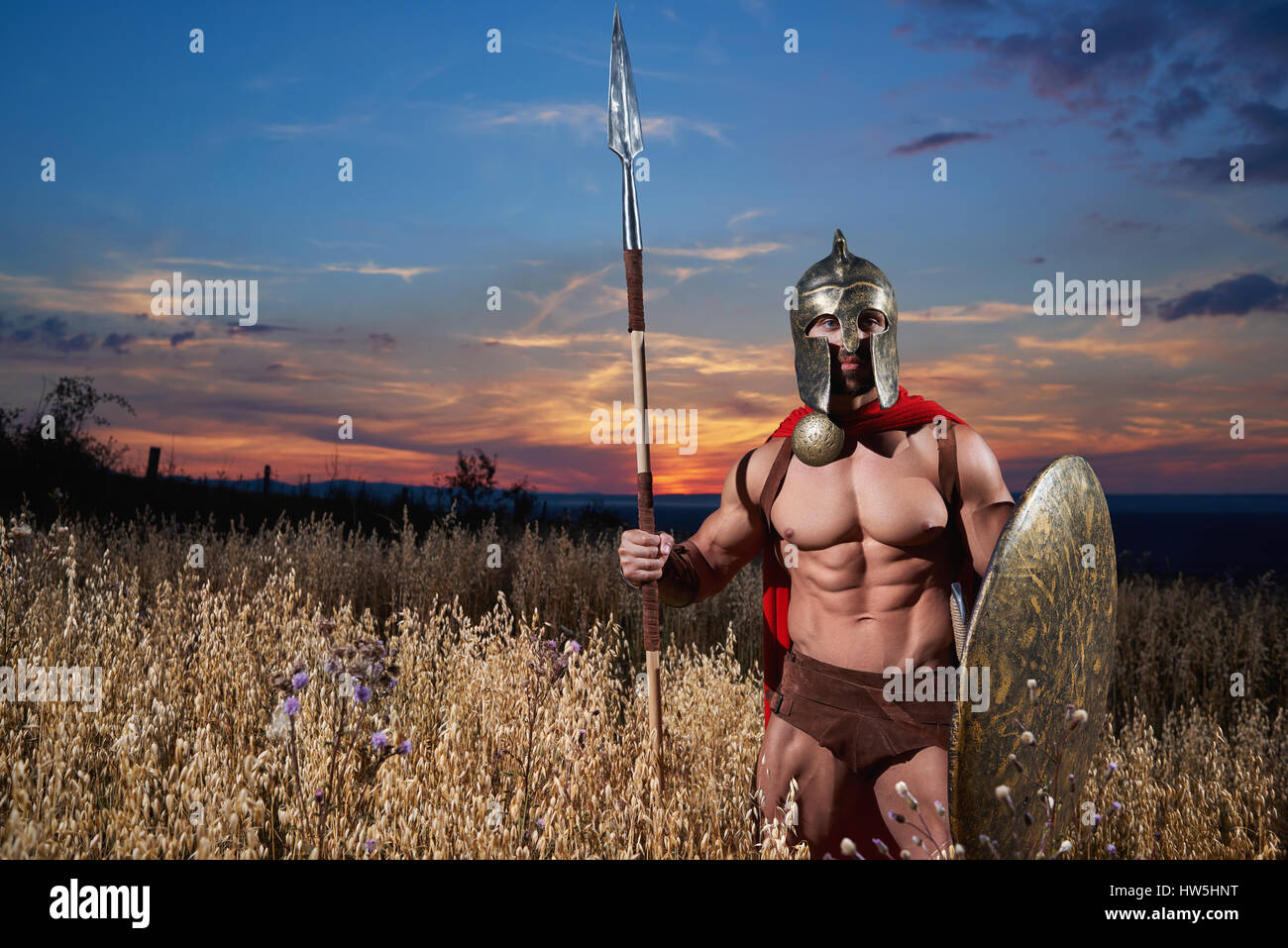 Warrior like spartan going forward in attack. - Stock Image