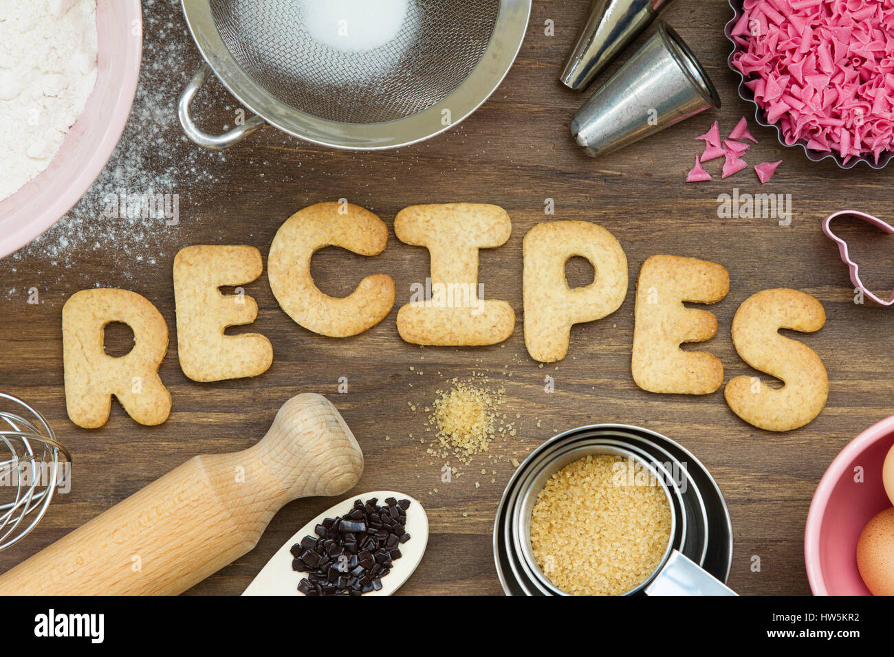 Cookies forming the word recipes - Stock Image