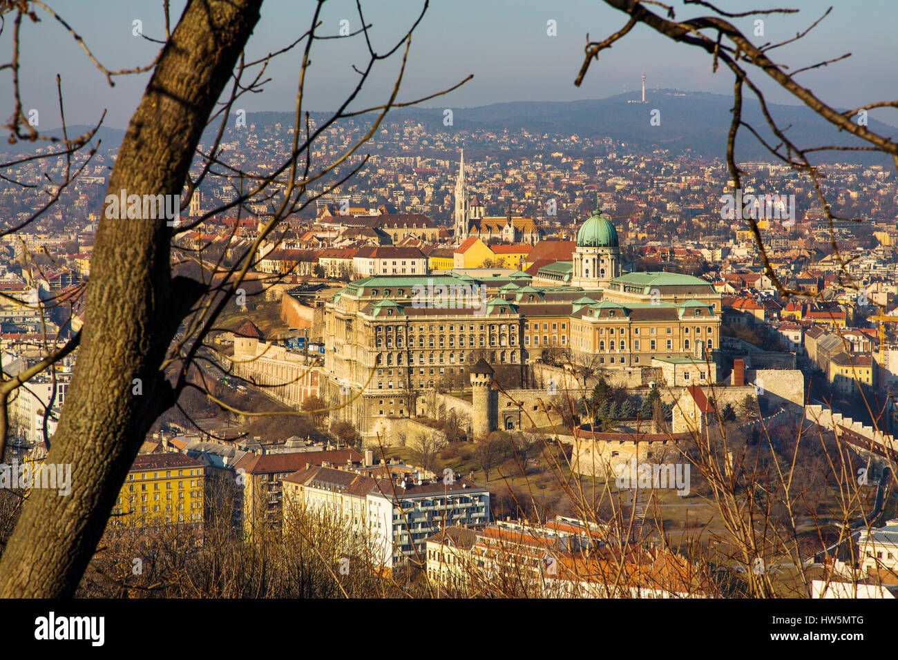 Buda Castle Hill from the Citadel. Budapest Hungary, Southeast Europe - Stock Image