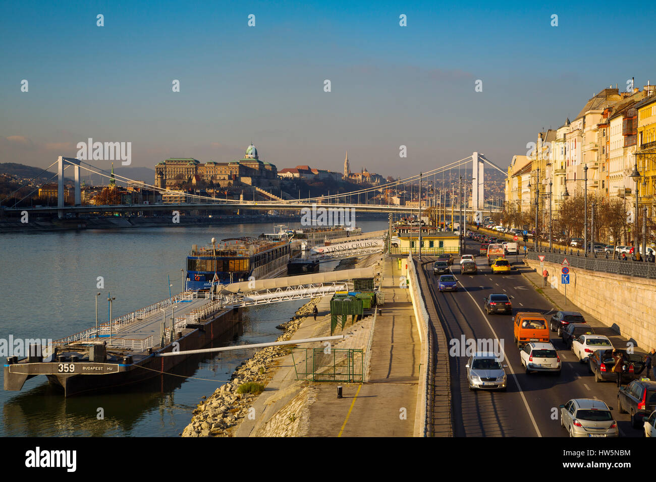 Riverbank. Danube River. Budapest Hungary, Southeast Europe - Stock Image