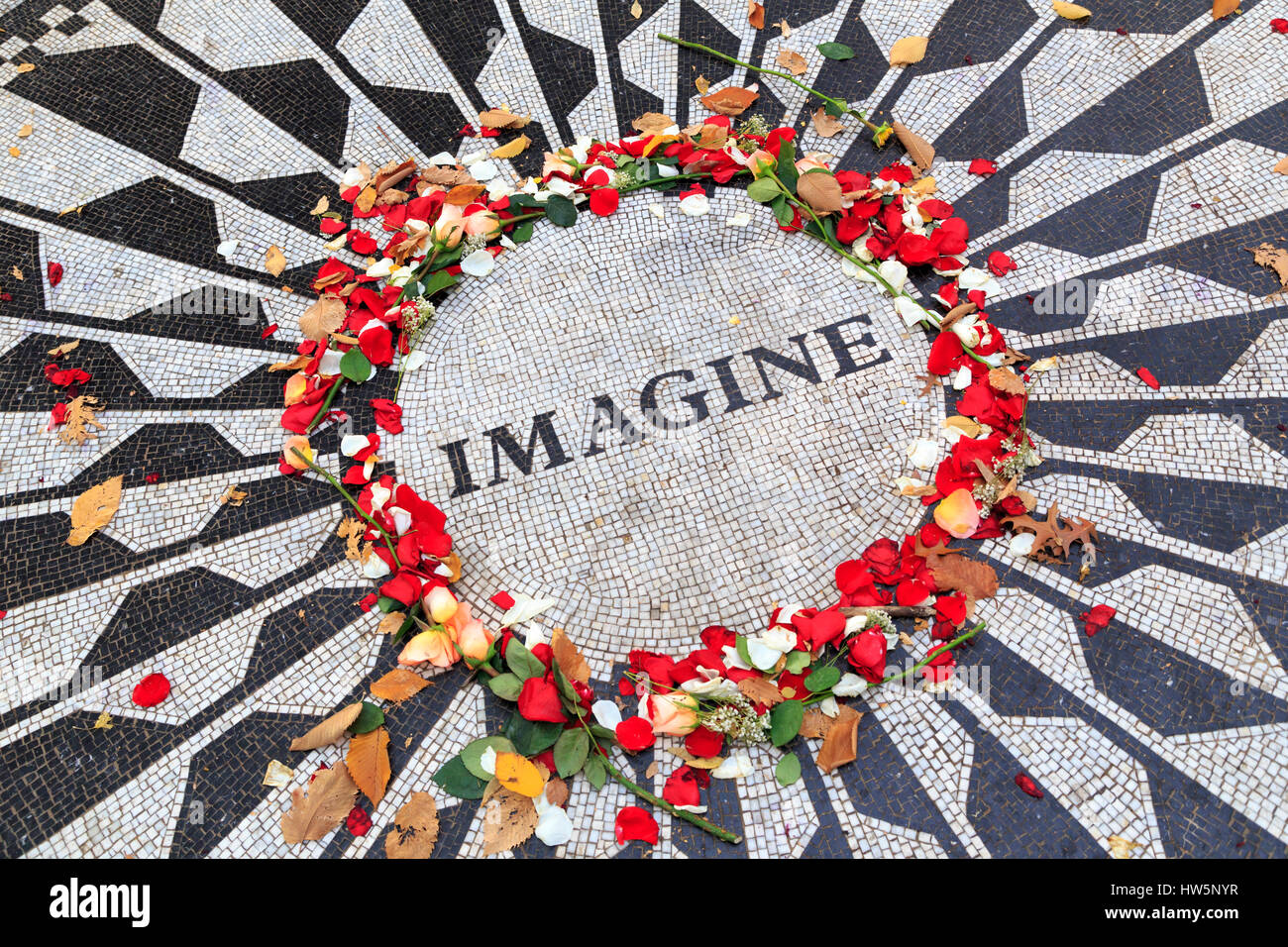 USA, New York City, Manhattan, Central Park, Strawberry Fields, Imagine Mosaic - Stock Image