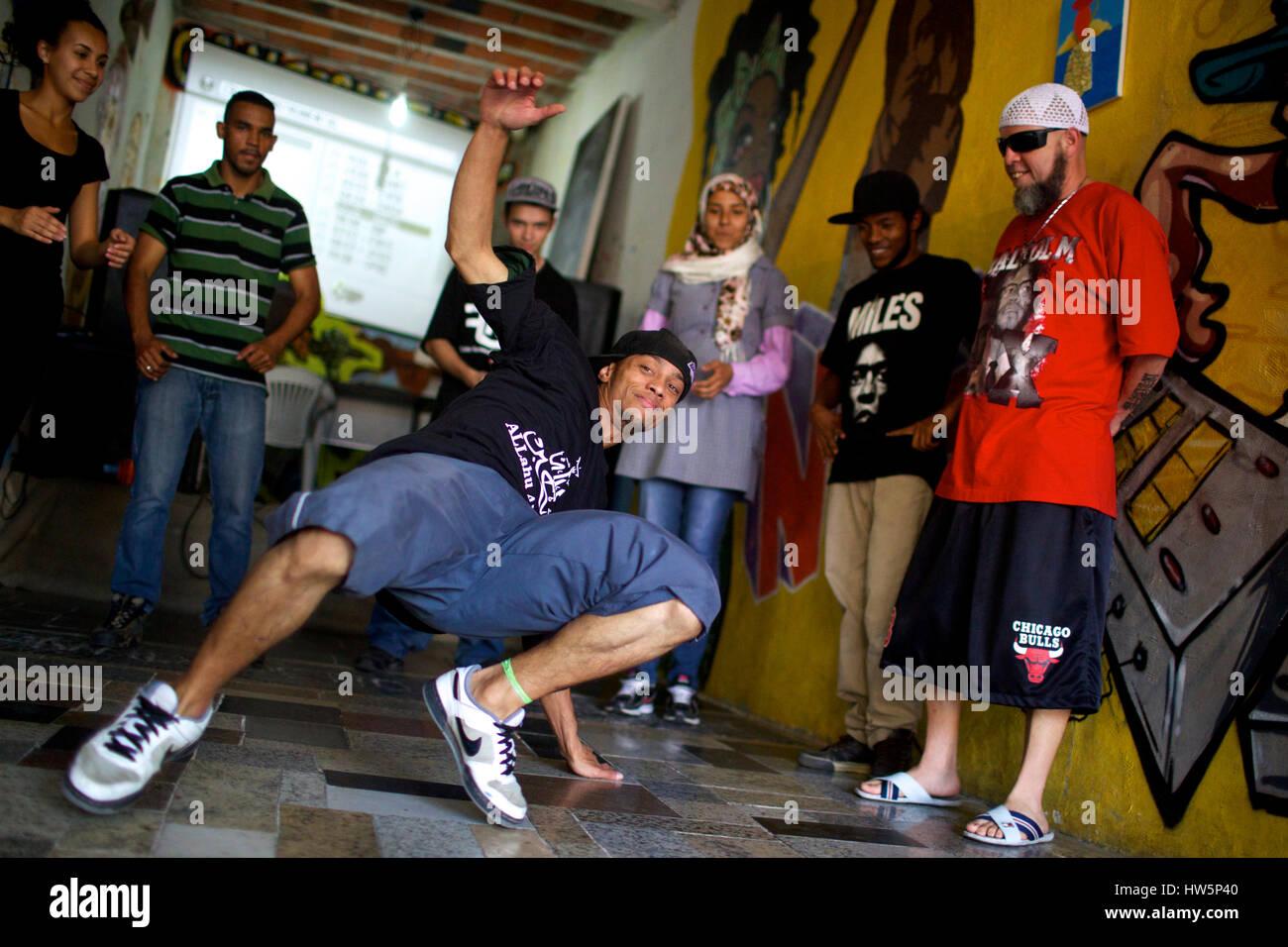 Hip Hop Jihad -  11/09/2013  -  Brazil / Sao Paulo  -  Kaab al Qadir, Elaine  and some graphers in islamic center Stock Photo