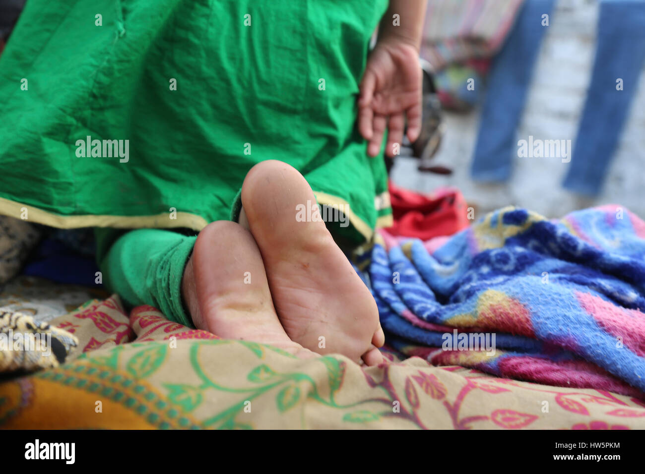 feet form a indian child - Stock Image