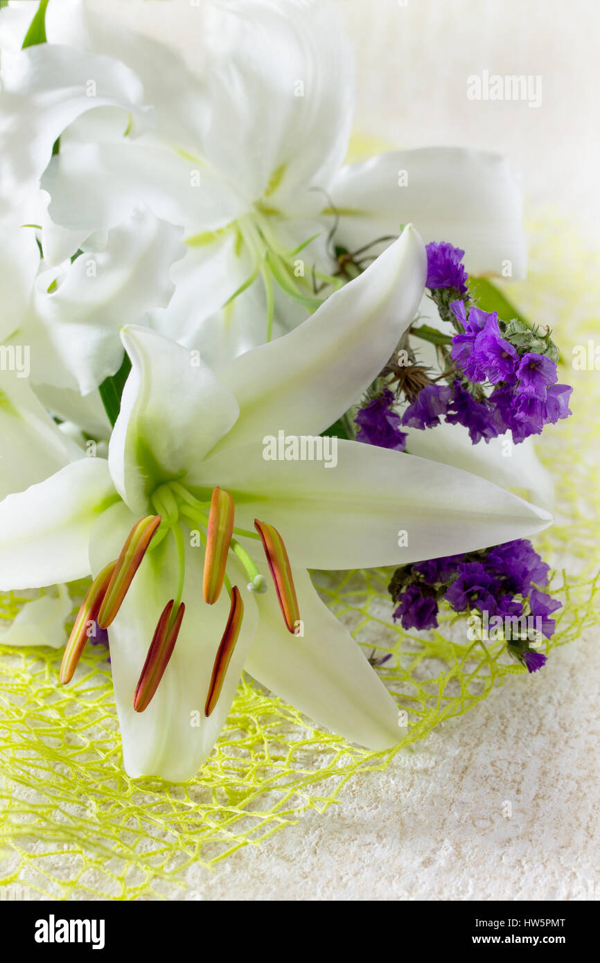 Wedding Or Birthday Background Beautiful Fresh White Lily Flowers